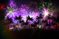 Digitally generated palm tree background with fireworks Royalty Free Stock Images