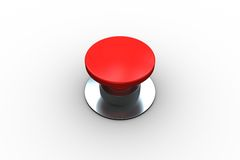Digitally generated red push button. On white background Stock Photography