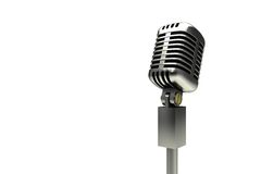Digitally generated retro chrome microphone Stock Images