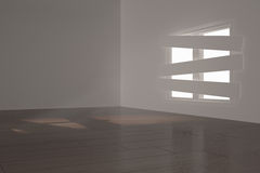 Digitally generated room with bordered up window. Digitally generated white room with bordered up window Stock Image