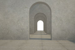 Digitally generated room with doorways Stock Images