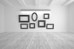 Digitally generated room with picture frames Royalty Free Stock Photography
