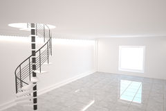 Digitally generated room with winding stairs Royalty Free Stock Photo