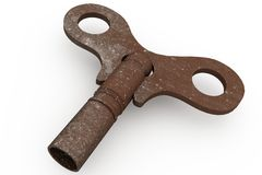 Digitally generated rusty old key Stock Photos