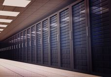 Digitally generated server room with towers Stock Photography