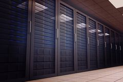 Digitally generated server room with towers Royalty Free Stock Photo