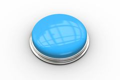 Digitally generated shiny blue push button Stock Photo