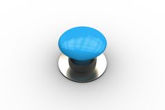 Digitally generated shiny blue push button. On white background Stock Photography