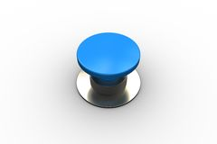 Digitally generated shiny blue push button. On white background Stock Photos