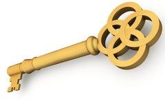 Digitally generated shiny gold key Stock Photo