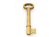 Digitally generated shiny gold key Royalty Free Stock Photo