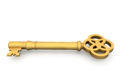Digitally generated shiny gold key Royalty Free Stock Photography