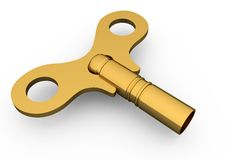 Digitally generated shiny gold key Stock Image