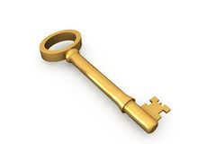 Digitally generated shiny gold key Royalty Free Stock Photo