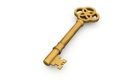 Digitally generated shiny gold key Royalty Free Stock Photos