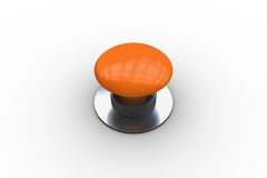 Digitally generated shiny orange push button Stock Image