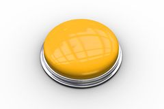 Digitally generated shiny yellow push button Royalty Free Stock Images