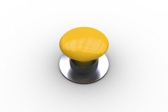 Digitally generated shiny yellow push button Stock Photography