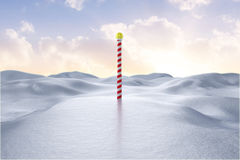 Digitally generated Snowy landscape with pole Stock Image
