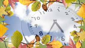 Frame with autumn leaves and clock. Digitally generated video of frame with autumn leaves and clock 4k stock video footage