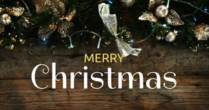 Merry Christmas text and Christmas decoration 4k