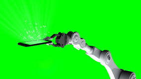Digitally generated video of robotic arm holding mobile phone with mathematical symbol rising up stock video footage