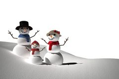 Digitally generated white snow family Stock Image