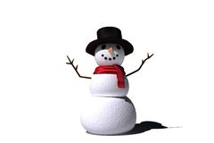 Digitally generated white snow man Stock Image