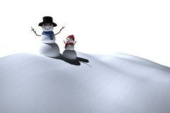 Digitally generated white snow people Royalty Free Stock Images