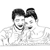 Hand drawn Sketched couple searching for ring stock illustration