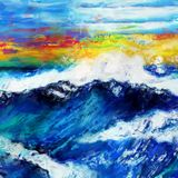 Rough Sea Abstract Painting. A digitally painted artistic abstract grunge wavy ocean seascape Royalty Free Stock Image