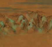 Digitally painted asian calligraphy style of mountains landscape Royalty Free Stock Photos