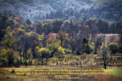 Digitally Painted Cades Cove Landscape and Bible Verse Stock Photos