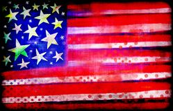 Digitally Painted Grunge American Flag stock illustration