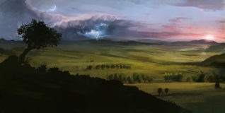 Digitally painted landscape with thunder sunset and moon Royalty Free Stock Image