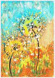 Digitally processed Dandelion in the meadow. Digitally processed gouache drawing Dandelion in the meadow good for background use stock illustration