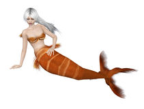 Mermaid with white hair Stock Images