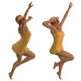 Girl in short yellow dress Stock Image
