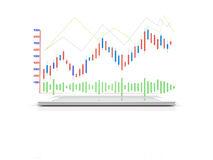 Digitalrechner-Tablet mit Diagramm der Analyse-3d, wie drahtloses devic Stockfotografie