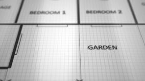Digitalrechnerplan des Aufbaus von Architekturplänen lizenzfreie abbildung