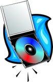 Digitalschallplatte mit Juwelkasten stock abbildung