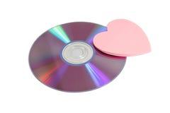 Digitalschallplatte und rosafarbenes Papierinneres Stockfoto