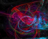 Digitalt abstrakt begrepp för Fractal, design för explosion för prydnad för dynamisk för gåtarörelsemodell mall för kurva härlig stock illustrationer