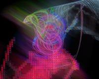 Digitalt abstrakt begrepp för Fractal, design för explosion för prydnad för mall för kurva för effekttexturgåta härlig vektor illustrationer