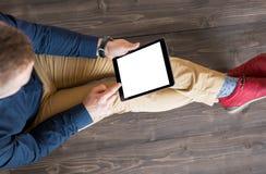 digitalt använda för mantablet arkivfoto