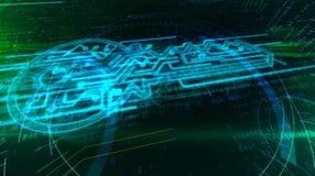 Digitalt begrepp f?r datakryptering med cybertangent stock illustrationer