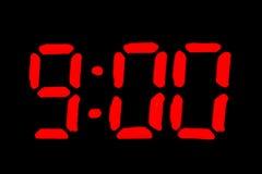 digitalt format nio o för svart klocka Arkivbild