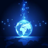 Digitalt globalt teknologibegrepp för vektor, abstrakt bakgrund Fotografering för Bildbyråer