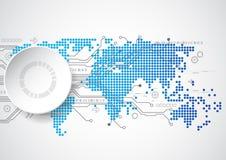 Digitalt globalt teknologibegrepp för vektor, abstrakt bakgrund Royaltyfria Foton