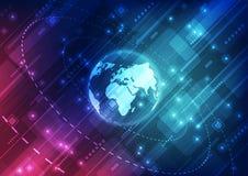 Digitalt globalt teknologibegrepp för vektor, abstrakt bakgrundsillustration royaltyfri illustrationer